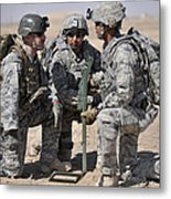 Soldiers Discuss A Strategic Plane Metal Print by Stocktrek Images
