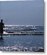 Solitary Angler Metal Print by Skip Willits
