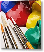Spilt Paint And Brushes  Metal Print by Garry Gay