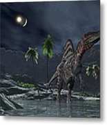 Spinosaurus Witnessing A Lunar Impact Metal Print by Walter Myers