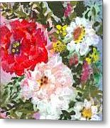 Splashy Flowers Metal Print by Debbie Wassmann