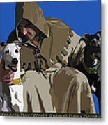 St. Francis With Two Greyhounds Metal Print by Kris Hackleman