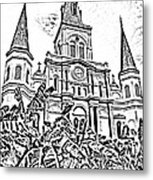 St Louis Cathedral Rising Above Palms Jackson Square New Orleans Photocopy Digital Art Metal Print by Shawn O'Brien