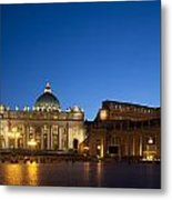 St. Peter's Basilica At Night Metal Print by David Smith