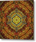 Stained Glass Gas Ring Mandala Metal Print by Richard H Jones