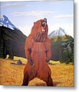 Standing Grizzly  Metal Print by Mickael Bruce