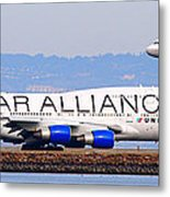 Star Alliance Airlines And United Airlines Jet Airplanes At San Francisco Airport Sfo . Long Cut Metal Print by Wingsdomain Art and Photography
