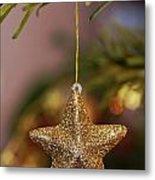 Star And Garland On Christmas Tree Metal Print by Sami Sarkis