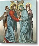Station Iv Jesus Carrying The Cross Meets His Most Afflicted Mother Metal Print by English School