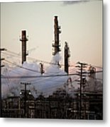 Steam Plumes At Oil Refinery Metal Print by Hal Bergman