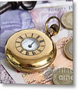 Still Life With Pocket Watch, Key Metal Print by Photo Researchers