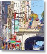 Stockton Street Tunnel In San Francisco . 7d7355 Metal Print by Wingsdomain Art and Photography