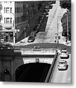 Stockton Street Tunnel Midday Late Summer In San Francisco . Black And White Photograph 7d7499 Metal Print by Wingsdomain Art and Photography