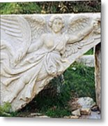Stone Carving Of Nike Metal Print by Mark Greenberg