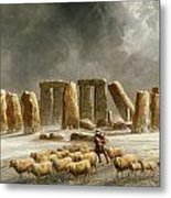 Stonehenge In Winter  Metal Print by Walter Williams