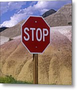 Stop Sign In South Dakota Badlands Metal Print by Will & Deni McIntyre