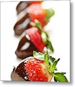 Strawberries Dipped In Chocolate Metal Print by Elena Elisseeva