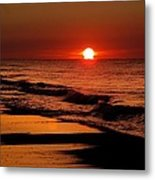 Sun Emerging From The Water Metal Print by Michael Thomas