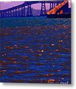 Sun Setting Beyond The Richmond-san Rafael Bridge - California - 5d18435 Metal Print by Wingsdomain Art and Photography