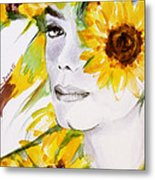 Sunflower Close-up Metal Print by Hitomi Osanai