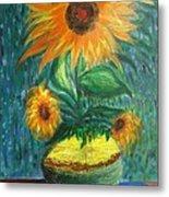 Sunflower In A Vase Metal Print by Prasenjit Dhar