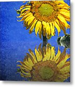 Sunflower Reflection Metal Print by Andee Design