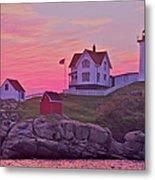 Sunrise Nubble Lighthouse Metal Print by Dale J Martin