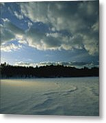 Sunset Viewed From The Frozen Surface Metal Print by Tim Laman