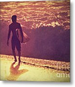 Surfer At Sunset Metal Print by Paul Topp