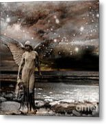 Surreal Fantasy Celestial Angel With Stars Metal Print by Kathy Fornal