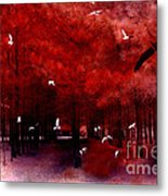 Surreal Fantasy Red Woodlands With Birds Seagull Metal Print by Kathy Fornal