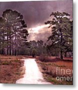 Surreal Pink Landscape With Purple Sunset Metal Print by Kathy Fornal