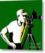 Surveyor Geodetic Engineer Survey Retro Metal Print by Aloysius Patrimonio
