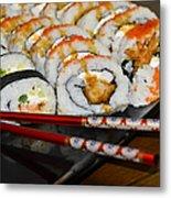 Sushi And Chopsticks Metal Print by Carolyn Marshall