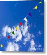 Suspended Festive Flags. Metal Print by Bernard Jaubert