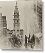 Swann Memorial Fountain In Sepia Metal Print by Bill Cannon