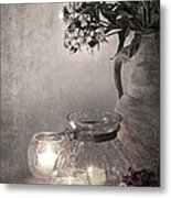 Sweet Williams Sepia Metal Print by Jane Rix