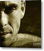 Swimmer In Water Metal Print by Sandra Cunningham