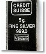 Swiss Silver Bar Metal Print by Laguna Design