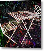 Table And Chairs Metal Print by Joan  Minchak