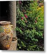 Temple And Garden Urn, The Wild Garden Metal Print by The Irish Image Collection