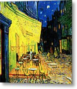 Terrace Of The Cafe On The Place Du Forum In Arles In The Evening Metal Print by Pg Reproductions