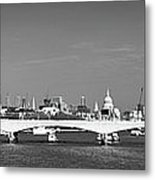Thames Panorama Weather Front Clearing Bw Metal Print by Gary Eason
