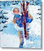 The Aerial Skier - 3 Metal Print by Hanne Lore Koehler