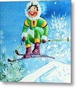 The Aerial Skier - 9 Metal Print by Hanne Lore Koehler