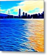 The Bay Bridge And The San Francisco Skyline . Panorama Metal Print by Wingsdomain Art and Photography