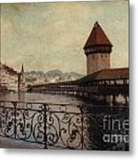 The Chapel Bridge In Lucerne Switzerland Metal Print by Susanne Van Hulst