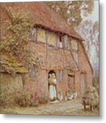 The Cottage With Beehives Metal Print by Helen Allingham