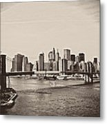 The New York City Skyline And The Brooklyn Bridge Metal Print by Vivienne Gucwa