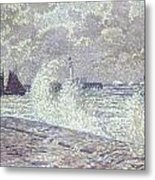 The Sea During Equinox Boulogne-sur-mer Metal Print by Theo van Rysselberghe